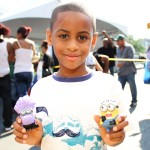 Dance competition winner, William King, 7 years old with his prize