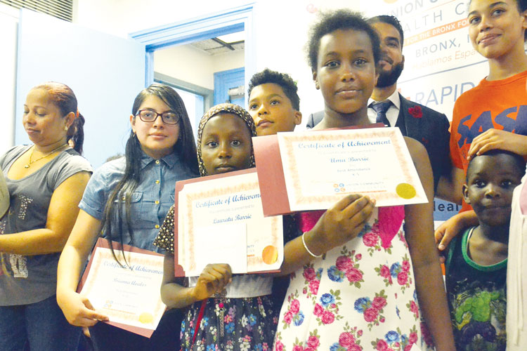 The students were recognized for their efforts.