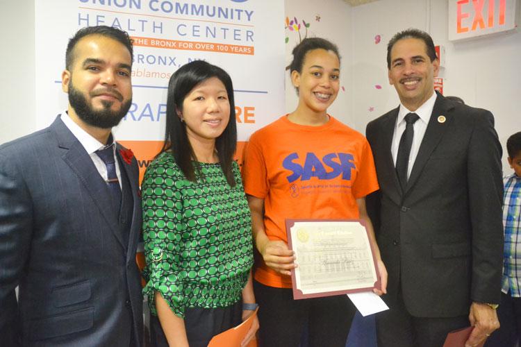 The Union Community Health Center recognized student efforts, including those of Amanda B. (in orange shirt).