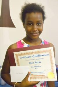 Like her sister, Umu Barrie received an award for best attendance.