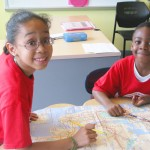 The children hone their map skills.