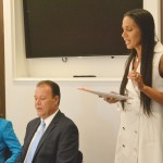 The Bronx Chamber of Commerce Executive Director Michelle Dolgow Cristofaro addressed the group.