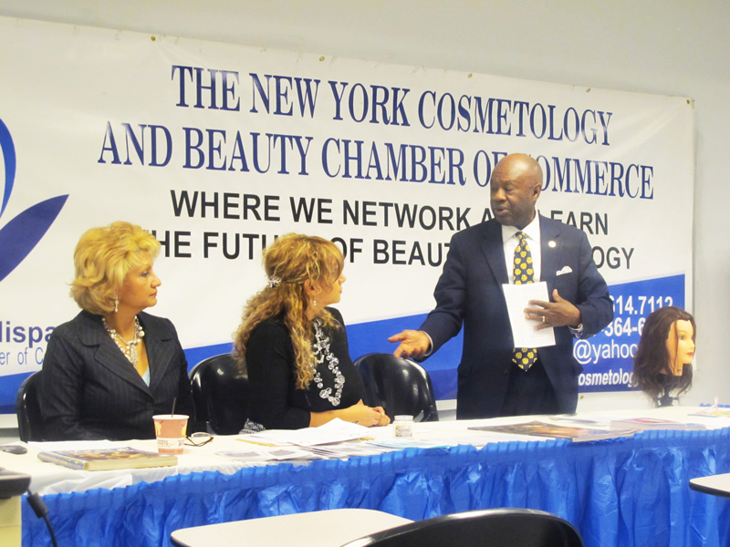Chamber Founder and President Charito Cisneros, the Small Business Development Center and the Office of Continuing Education at Lehman College announce new cosmetology certification program at open house