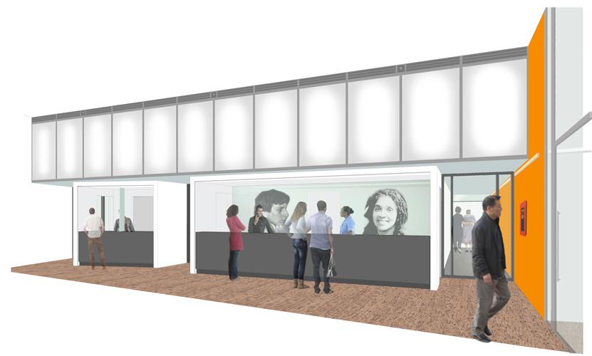 El área de recepción de la clínica. Foto: Michielli + Wyetzner Architects