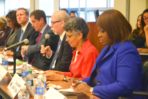 Among those in attendance were Dr. Mary Travis Bassett, Commissioner of the city's Department of Health and Mental Hygiene (in red) and Councilmember Vanessa Gibson (blue).