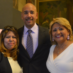 """Women need to raise their self-esteem, to move forward,"" said Charito Cisneros (right), President of the New York Hispanic Cosmetology and Beauty Chamber of Commerce, with the Borough President."
