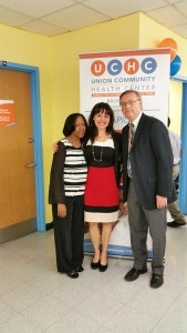 """They continue helping me,"" said Elsa Fernández, here with UCHC Behavior Health Directors Mildred Casiano (left) and Joseph Lambrelli. Photo: UCHC"