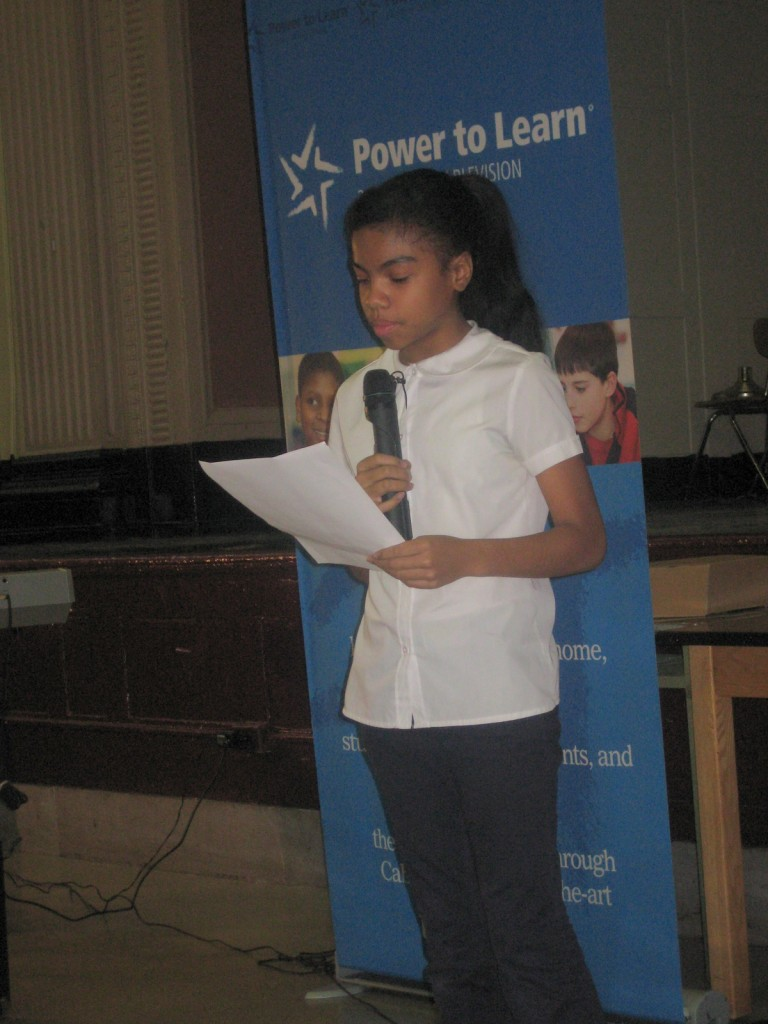"Alondra Araujo won the Cablevision Power to Learn essay contest with an entry, ""Latinos in a Big City"", that touched on the issues of identity and culture within the Hispanic community. Here, she reads aloud from her essay at the awards presentation."