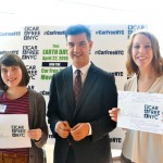 Ydanis Rodríguez, with Rebecca Fuger (left) and Molly Johnson of The New School, announced Car Free Day.