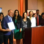 The New York City Hispanic Chamber of Commerce received a citation from Melissa R. Quesada, Director of Latino Affairs (center, in green dress) for the office of Governor Andrew Cuomo.