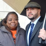 """We're speaking about basic tenant needs,"" said City Councilmember Rafael Salamanca, here with resident Andrea Minor."