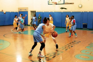 This season, the P.S. 161 girls' basketball team made it to the Final Four of the league playoffs.