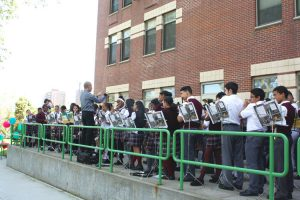 The 112-piece band is composed of middle school students.
