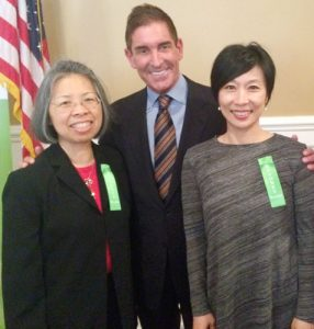 Klein with (from left to right) PTA Co-Presidents Unjoo Trebach and Alice Lee.