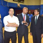 From left: Assemblymember Marcos Crespo, Chairman of the Bronx Democratic Party; Bronx Borough President Rubén Díaz, Jr., and Assemblymember Robert Rodríguez wait and watch at the Wright party.
