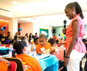 New York City First Lady Chirlane McCray speaks with schoolchildren. Photo: Christian Johnston
