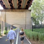 Mark-Viverito and Councilmember Salamanca walk the Randall's Island Connector.