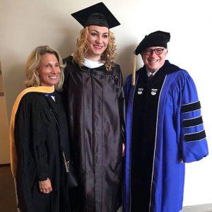 Student speaker, Alina Keyson (center) with Dean Huberman and Prof. Allison Bobick (left).