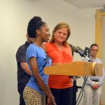 Mark-Viverito with Sherry, an immigrant from Honduras.