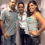 Anthony with concertgoers backstage.