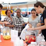 A fruit-infused water stand offered a cool – and healthy – respite.