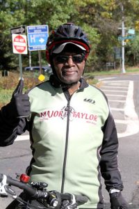 Fred Thomas pauses outside of Van Cortlandt Park.