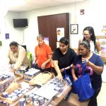 Food was packaged in individual bags for distribution.