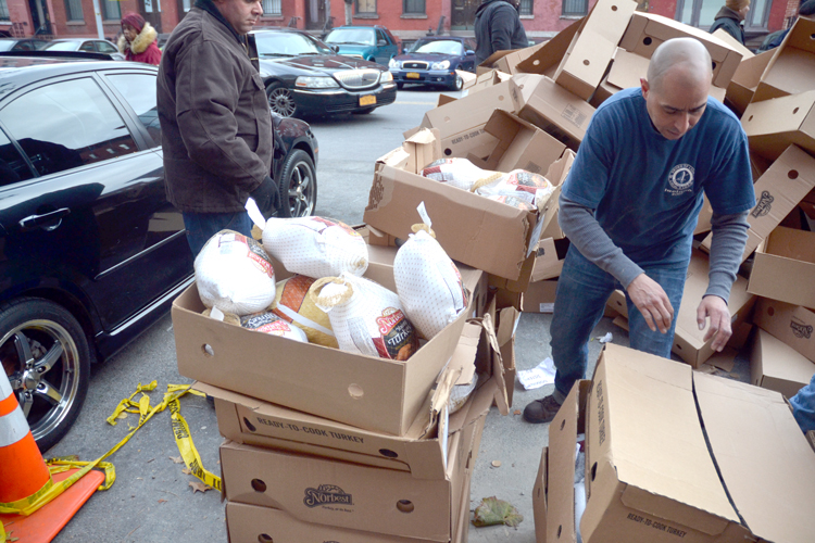 The organization gave away 2,000 frozen birds.