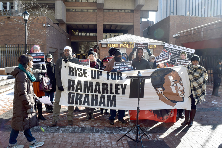 Protestors gathered at One Police Plaza.