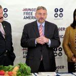 From left: Congressman José Serrano, Joel Berg and Councilmember Vanessa Gibson.