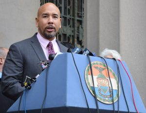 """""""We are here to stand with you,"""" said Borough President Rubén Díaz Jr."""