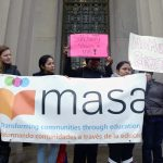 Advocates gathered at the courthouse.