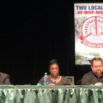"""""""We're going to keep showing up and try to get a deal,"""" said TWU President John Samuelsen (far right)."""