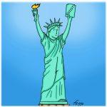 "Lady Liberty Resists by Felipe ""Feggo"" Galindo (Digital, USA/Mexico)."