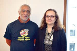 """The situation is that urgent,"" said Bhairavi Desai, of the Taxi Workers Alliance (right) with Javaid Tariq."