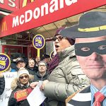 32BJ members have protested the nomination of Andy Puzder as Labor Secretary.