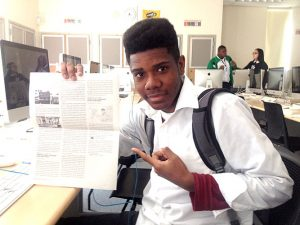One of the student journalists at Bronx Leadership Academy II, where the summit was held.