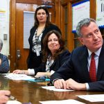 "Aimee Horowitz (second from right) with Mayor Bill de Blasio and Schools Chancellor Carmen Fariña (left) at a meeting at one of the city's ""renewal schools"" in March 2015."