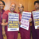 Healthcare workers showed support.