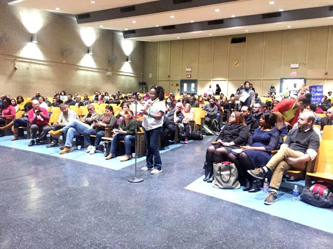 A filled auditorium.