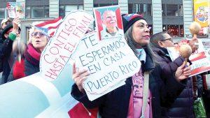 La primera reunión después de la noticia de la liberación de López Rivera se celebró en Times Square.