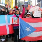 The first gathering after news of López Rivera's release was held in Times Square.