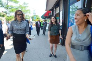 Lisa Sorin, Executive Director of the Westchester Square BID (left) on a walk-through in 2015.