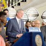 """It's time [to] stand up for working people,"" said Mayor Bill de Blasio."