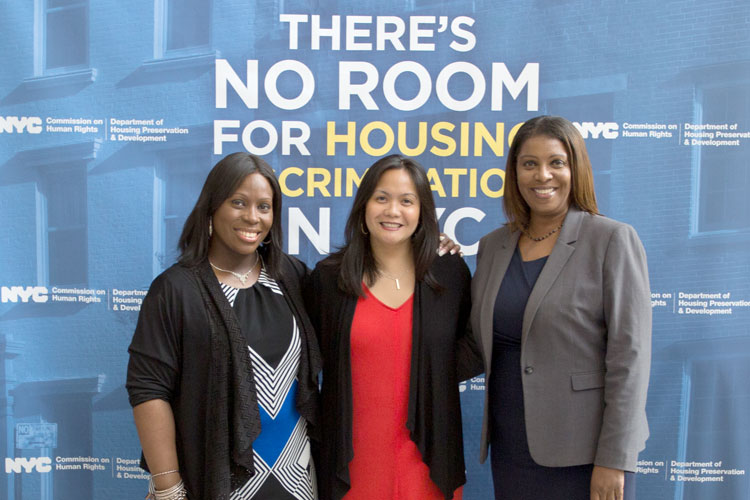 From left: Councilmember Vanessa Gibson, HRC Commissioner Carmelyn P. Malalis and Public Advocate Letitia James.