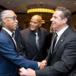 From left to right: NAN Founder Rev. Al Sharpton, activist and actor Harry Belafonte, and Gov. Andrew Cuomo.