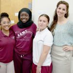 """We can't wait around for others to do something,"" says NYC Junior Ambassador Maryam (second from left), with fellow students Josephine and Jayline (right) with teacher Elizabeth Chávez."