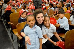 Kindergarten teacher Kristen Cabutto said she was grateful for Rivera's visit.