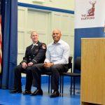Rivera with FDNY Lieutenant Michael Kozo.
