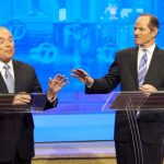 Scott Stringer and Eliot Spitzer face off in 2014.